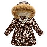 Autumn Winter Girls Coat,Fineser Baby Little Girls Thick Warm Fur Hooded Jacket Windproof Coat Leopard Print Long Sleeves 2-7T (Khaki, 5-6 Years(140))