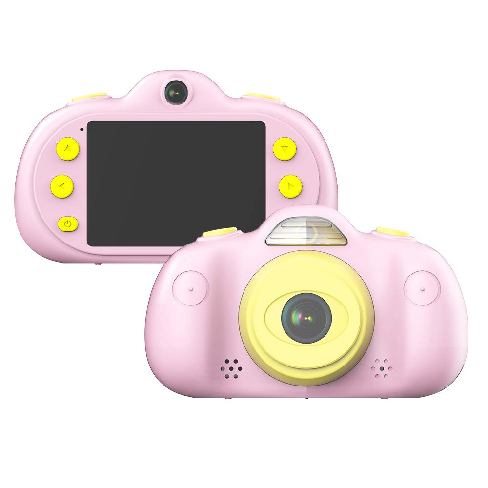 WeniChen Dual 8MP Lens Kids Camera 1080P HD Digital Camcorder Multi-Functional Children's Toy MP3 Video Player Game Player with 2.4 Inch IPS Screen for 3-10 Year Old Boy Girl Birthday Gift (Pink) by WeniChen (Image #1)