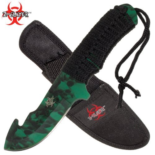 Red Deer Z-Slayer Hunting Knife with Gut Hook and Nylon Sheath – 8.25 Inches Overall Length – Wooden Handle – Full Tang – High Ca