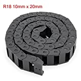 uxcell R18 10mm x 20mm Black Plastic Cable Wire Carrier Drag Chain 1M Length for CNC