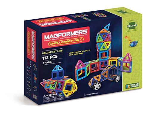 Magformers Challenger Set (112-pieces) Deluxe Magnetic Building Blocks, Educational Magnetic Tiles Kit, Magnetic Construction shapes STEM Toy Set