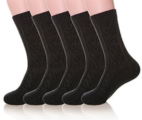 MIUBEAR Mens 5 Pair Pack Knitting Cotton Warm Wool Casual Winter Socks (5 Pack Classic Black)