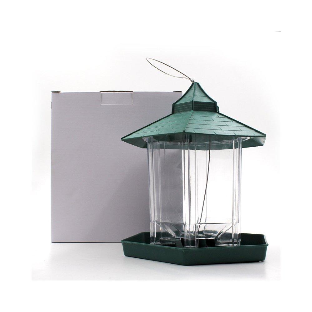YEARGER Al aire libre Wilde pájaro de suministro de alimentos de cajas Gazebo colgante de pájaro de alimentación completamente para jardín de decoración