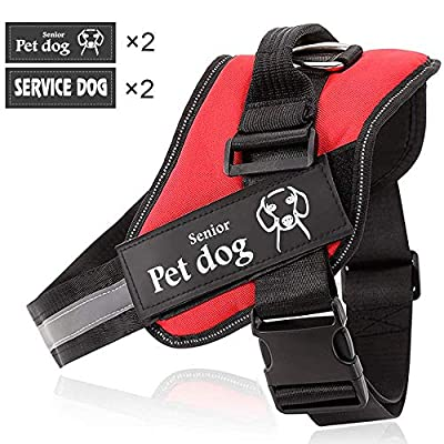 UPSKY Dog Harness No Pull Dog Vest Harness for Medium Large Dogs Adjustable Oxford Soft Dog Vest 3M Reflective Soft Pet Harness with Four Removable Patches Easy Walk Harness …