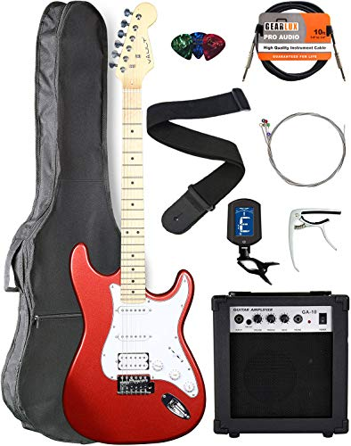 Vault ST1 Maple Fretboard Electric Guitar - Metallic Red with Amplifier, Instrument Cable, Gig Bag, Strap, Capo, Tuner, Strings, and Picks