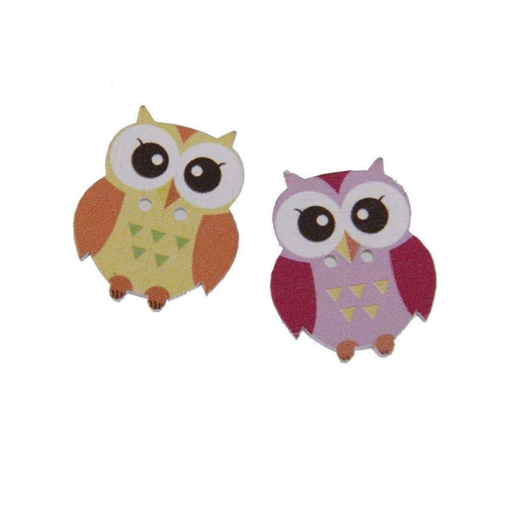OmkuwlQ Color Random 50pcs Cartoon Wooden Chip Children Kid Clothes Button Decorations Eco-Friendly Ornament by OmkuwlQ (Image #3)