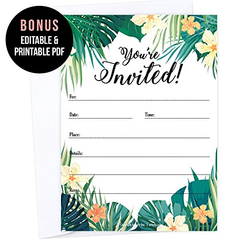 Set of 25 Tropical Party Invitations with Envelope, Hawaiian Wedding Invitation, Wedding Rehearsal Party, Engagement Party, Bachelorette, Bachelor, Birthday, Reception Party, - Hawaiian Invitations Wedding