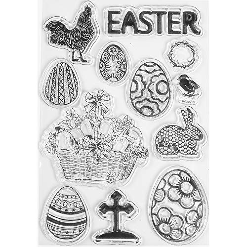- MaGuo Easter Clear Stamps Cross Basket Egges,Bunny,Rooster for Easter Craft Decoration