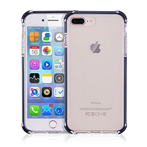 iPhone 7 Plus Case, iPhone 8 Plus Case, Hybrid Shockproof Slim Crystal Clear Cover Double Anti Drop Protection Flexible TPU Frame Bumper Corner for iPhone 7 Plus iPhone 8 Plus