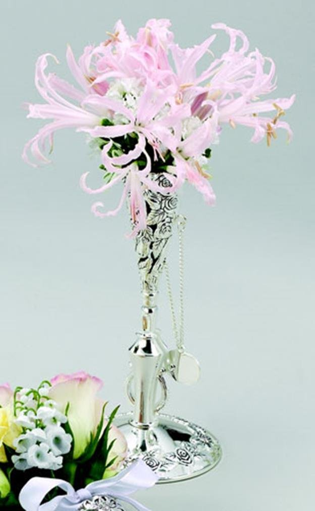 Floral Tussie Mussie Stand - Floral Tussie Mussie Stand, Silver ...