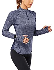 Siahk Women's Long Sleeve Running Shirts Half-Zip Pullover Quick Dry Lightweight Athletic Workout Tops with Thumbholes