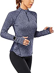 Siahk Women's Long Sleeve Running Shirts Half-Zip Pullover Quick Dry Lightweight Athletic Workout Tops wit