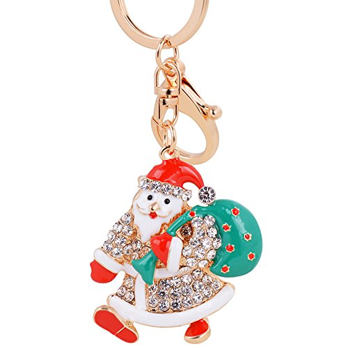 USATDD Father Christmas Rhinestone Keychain Crystal Keyrings Purse Pendant Handbag Fashion Decoration Clothing Accessories With Gift Box (Diamond Skull Belts Clothing)