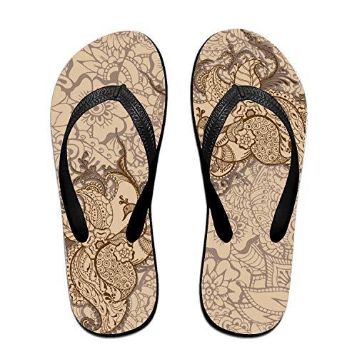 Kefanlk Lace Peacock Flip-Flops Beach Slim Sandal for Women/Men, Multicolored Design Comfort Proof Slippers Black