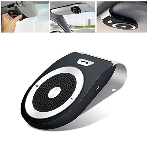 Bluetooth Car Kit HandsFree, Speaker Receiver Sun Visor Car Charger Speakerphone Car Stereo Hands-free Bluetooth Speakerphone Player Car Kit with Mic for iPhone 8/Plus Samsung Support -Black by GDBCX