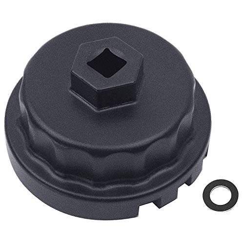Heavy Duty Oil Filter Wrench+Oil Drain Plug Gasket for Toyota, Lexus , RAV4, Camry, Tundra, Highlander, Sienna and More - Oil Filter Cap Removal Tool for 2.5L to 5.7L Engines ()