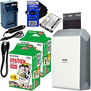 Fujifilm instax SHARE Smartphone Printer SP-2, Silver (International Version) + Instax Mini Instant Film (40 sheets) + Rchrgbl. Battery + AC/DC Charger + HeroFiber Gentle Cleaning Cloth