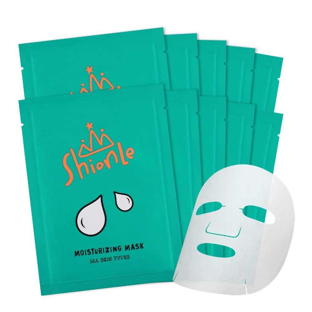 SHIONLE - Skin Care Facial Essence Sheet Masks : Moisturizing Mask | 10 Moisturizing Masks Included | Non-Drying | Tencel-Cupra Sheet | Aloe Vera & Glacier Water Infused | Nutritional Korean Skin Care