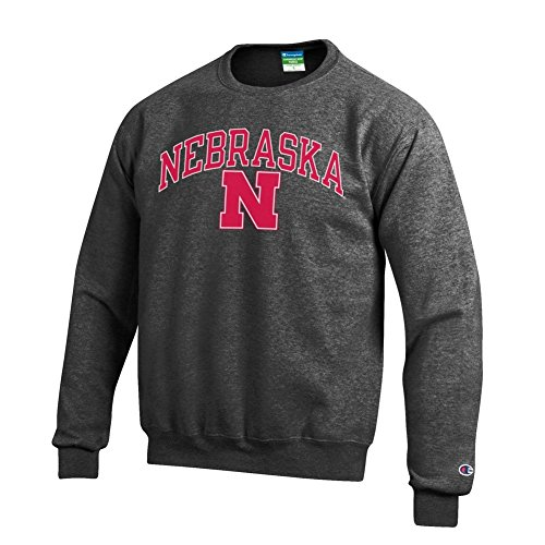 Elite Fan Shop NCAA Nebraska Cornhuskers Men's Crewneck Charcoal Gray Sweatshirt, Dark Heather, Large