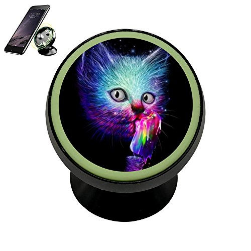 Price comparison product image Harrise Owl 3D Printing Magnetic Phone Car Mount Holder for iPhone 360 Rotation Noctilucent Function, Black
