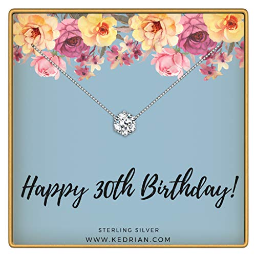 KEDRIAN 30th Birthday Necklace, 925 Sterling Silver, 30 Birthday Gifts Necklaces for Women, Pendant Gift for 30 Year Old Woman Birthday, Ideas for 30th Birthday Gifts for Her, 30 and Fabulous Jewelry (Best 30th Birthday Presents)