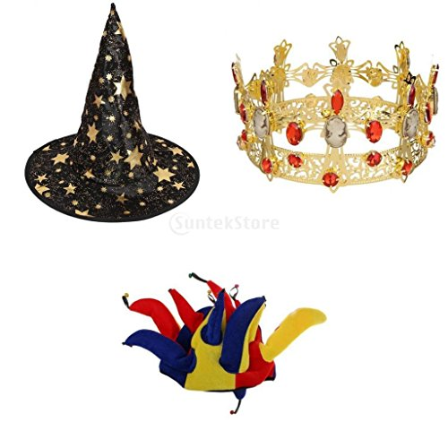 Jester Hat Craft - Jili Online King Joker Witch Cosplay Wizard Jester Hat Crystal Crown Carnival Party Dress Up