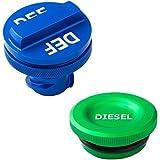 DEDC Dodge Ram Diesel Magnetic Fuel Cap and DEF Cap Set Fit 2013 to 2017 Truck Exhaust Fluid Auto Parts, Billet Aluminum 3.0L V6 Engines Cummins, Billet Diesel Fuel Cap