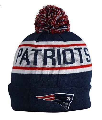 Unisex Adults NE PATRIOTS Winter Knit Beanie PomPom Hat One Size White/Dark Blue (Toboggan Patriots)