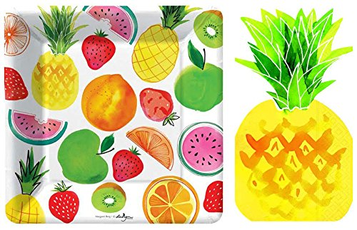 Napkins Fruit - Pineapple Fruit Salad Plates and Napkins by Design Design