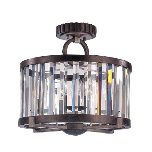 (Semi Flush 4 Light Bulb Fixture with Grecian Bronze Tone Finish Cut Crystal Shade Medium Base 15)