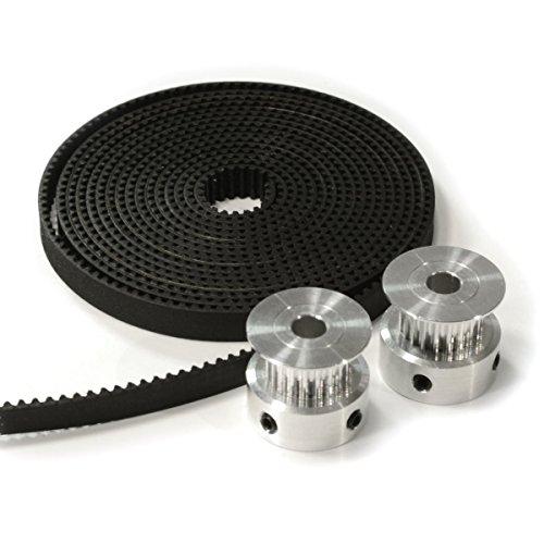ALUNAR 1.7 Meters Timing Belt and 2 PCS Aluminum Gt2 20t Pulley Set for Reprap 3D Printer I3 Kit