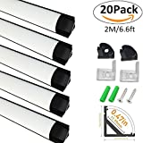 LightingWill 20-Pack V-Shape LED Aluminum Channel System 6.6ft/2M Anodized Black Corner Mount Track for <12mm width SMD3528 5050 LED Strips with Curved Cover, End Caps and Mounting Clips V02B2M20