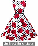 I2CRAZY Womens Boatneck Sleeveless Vintage 1950s Retro Rockabilly Prom Tea Dress with Belt  ,Large , F06