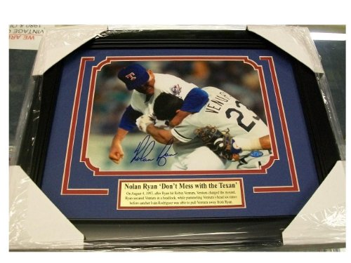 Nolan Ryan Signed Photo - 8x10 Fight Vs Ventura Framed Hologram - Autographed MLB (Ryan Framed Photo)