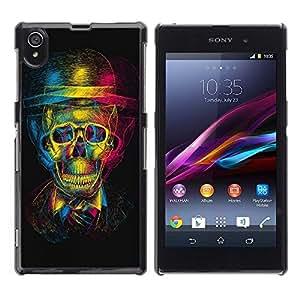 FECELL CITY // Duro Decorativo Carcasa de Teléfono PC Caso Funda / Hard Case Cover forSony Xperia Z1 L39 // Design 3D Skull
