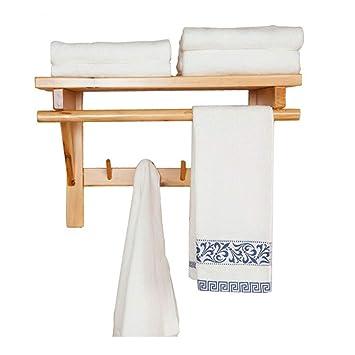 AJZGF Soporte de Pared para baño Gancho de la Percha de Toallas combinación de Madera de Toallas (Tamaño : 50cm*30cm*33cm): Amazon.es: Hogar