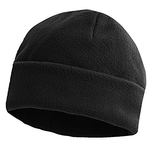 Opromo Heavyweight Fleece Watch Cap Warm Cuff Beanie Skull Cap Winter Hats-Black-1pcs