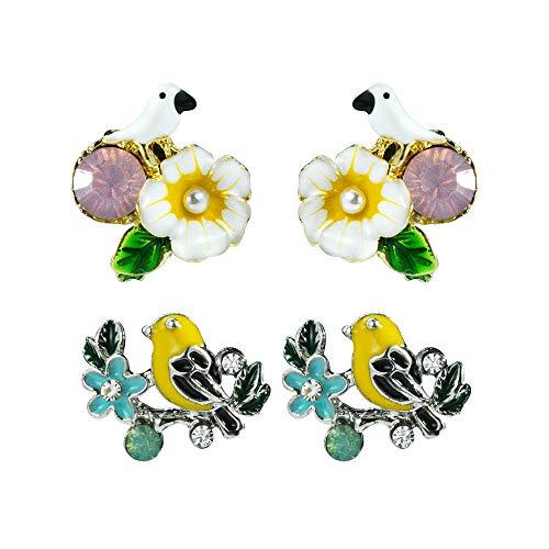 Mamfous 2pcs Cute Enamel Bird Stud Earrings For Women Small Simulated Pearl Jewelry Vintage Accessories Set