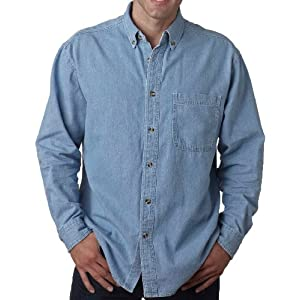 UltraClub Big Men's New Casual Cypress Denim Shirt