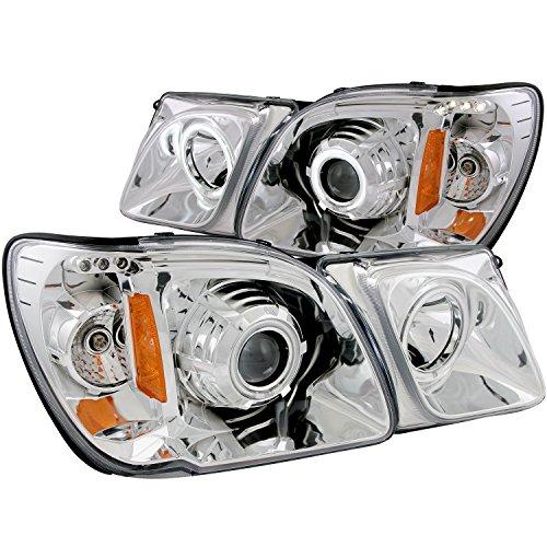 AnzoUSA 111169 Chrome Clear Projector Halo Headlight for Lexus LX470 - (Sold in Pairs) Chrome Clear Halo Headlights