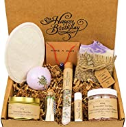 Birthday Gift Baskets for Women - Handmade Lavender Spa Gift Set - Natural Relaxing Spa Self Care Package for