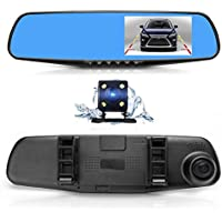 Dual Lens Car Camera, Oxygentle Rear View Reverse Mirror Backup Camera, 1080P Full HD Dash Cam Car Recorder DVR with 4.3 Inch Screen, 170-degree Wide Angle Lens with G-Senor