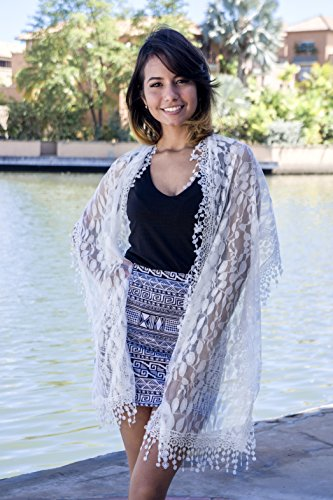 Cindy and Wendy Lightweight Soft Leaf Lace Fringes Scarf shawl for Women,White,One Size by Cindy and Wendy (Image #2)