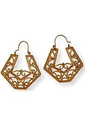 Fashion Earrings Filigree Hoop Matte Antique Gold Tone Metal