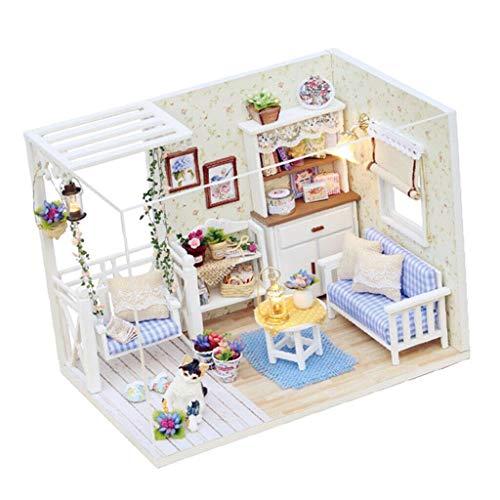 NATFUR DIY Dollhouse Kits with Furniture Unassembled - Cozy Kitten Diary Kids Gift]()