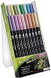 Tombow ABT-18C-5 Lot de 18 Feutres pinceau à 2 pointes, couleurs pastel