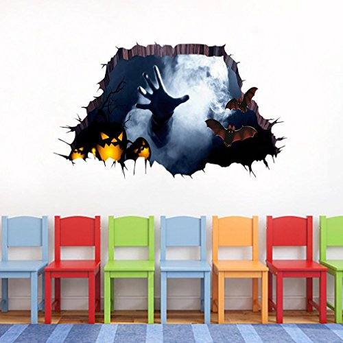 Happy Halloween Party, SUPPION PVC 3D Happy Halloween Household Room Floor Wall Sticker Mural Decor Decal Removable-About 75cm34cm (A) -