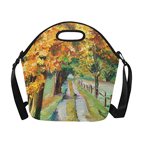 InterestPrint Large Insulated Lunch Tote Bag Autumn Forest Oil Painting Reusable Neoprene Cooler, Country Road Portable Lunchbox Handbag with Shoulder Strap
