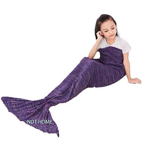 Crochet Mermaid Tail Blanket ,Handmade Mermaid Knitted Blanket for Kids, Girls and Adults, Summer Super Soft Sleeping Bags (Purple-102)