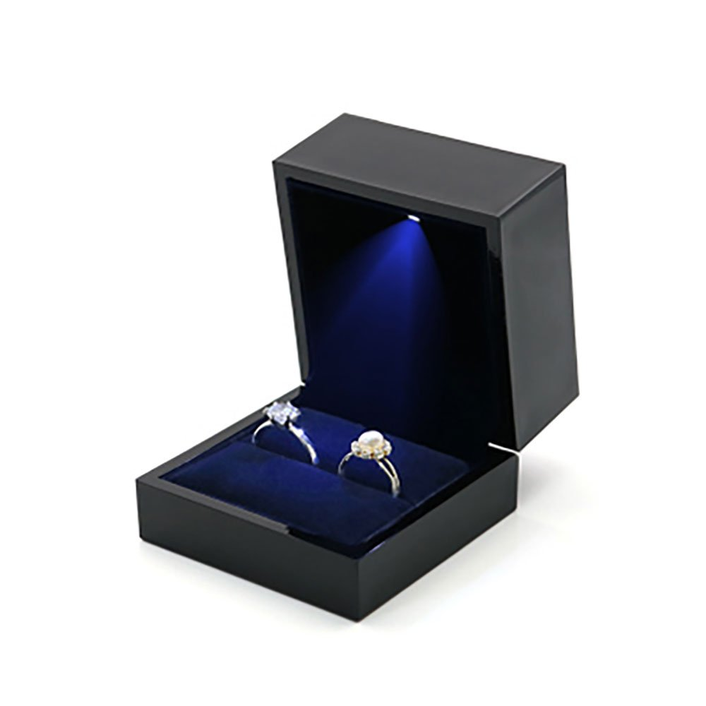 Longpro Ring Box with LED Light Velvet Storage Holder Display Case Pendant Box Black Jewelry Case Organizer Gift Box Ring Bearer Box for Proposal Wedding Engagement Ceremony (Double Ring Box)